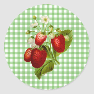 Green Gingham Strawberries Stickers