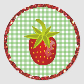 Green Gingham Strawberry Stickers
