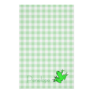 Green Gingham with Tree Frog and Your Name Stationery Paper