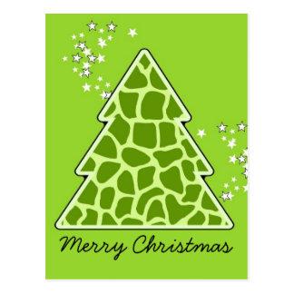 Green giraffe Christmas Tree Postcard