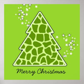 Green giraffe Christmas Tree Poster