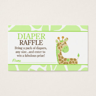 Green Giraffe Jungle Baby Shower Diaper Raffle