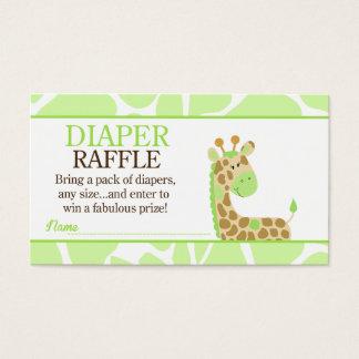 Green Giraffe Jungle Baby Shower Diaper Raffle Business Card