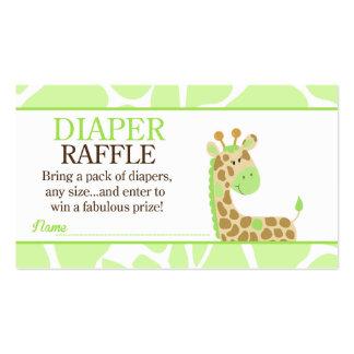 Green Giraffe Jungle Baby Shower Diaper Raffle Pack Of Standard Business Cards