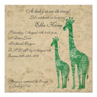 Green Giraffe Silhouettes Baby Invitation