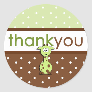 Green Giraffe Thank You Stickers