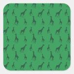 Green giraffes square sticker