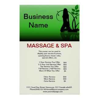 Green girl Spa Massage Beauty Salon Poster
