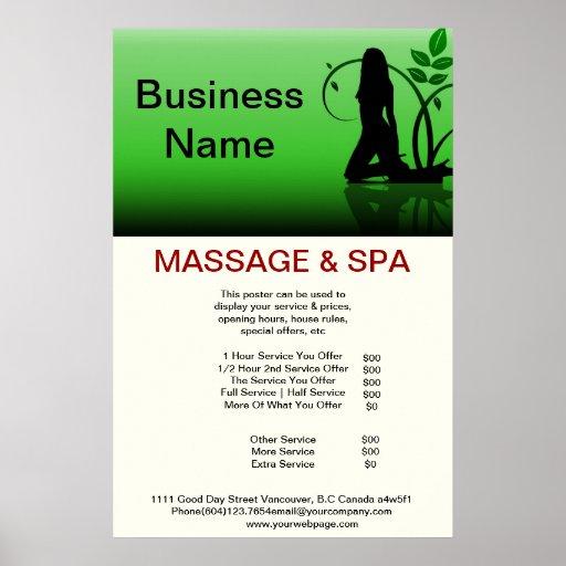 Green girl Spa Massage Beauty Salon Poster