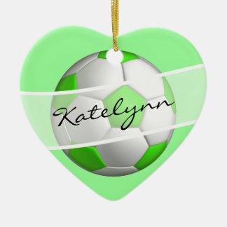 Green Girls Soccer Ball Christmas Tree Ornament