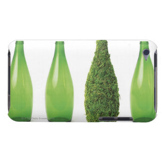 Green glass bottles showing recycling and barely there iPod cover
