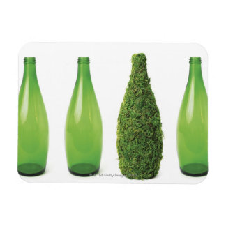 Green glass bottles showing recycling and rectangular photo magnet