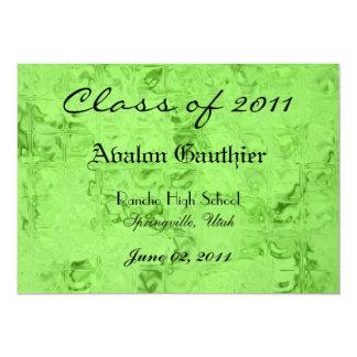 "Green Glass Class of Senior Graduation Invitation 5"" X 7"" Invitation Card"