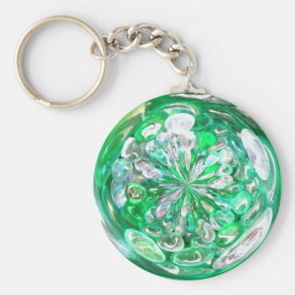 Green Glass Crystals Bubbles Effect Key Ring