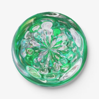 Green Glass Crystals Bubbles Effect Paper Plate