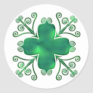 Green Glass Like Scrolled Design Stickers