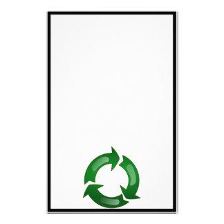 Green Glassy Recycle Symbol Custom Stationery
