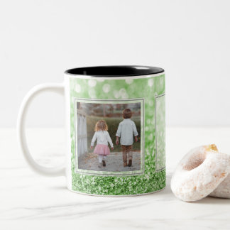 Green Glitter 2 Pictures w/Text Design Your Own Two-Tone Coffee Mug