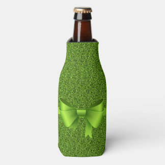 Green Glitter and Bow Bottle Cooler