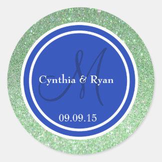 Green Glitter & Blue Wedding Monogram Round Sticker
