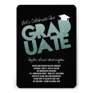 Green Glitter Graduate Cutout Graduation Party Personalized Announcements