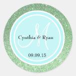 Green Glitter & Light Blue Wedding Monogram Label Round Sticker