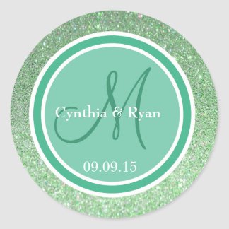 Green Glitter & Mint Wedding Monogram Round Sticker
