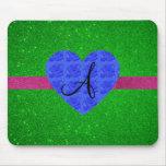 Green glitter monogram blue roses mouse mat