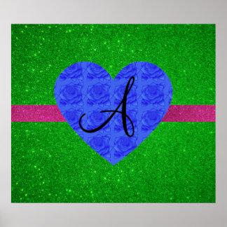 Green glitter monogram blue roses print