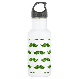Green Glitter Mustache Pattern Printed 532 Ml Water Bottle