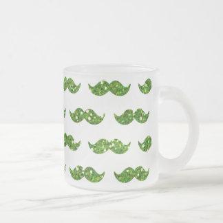 Green Glitter Mustache Pattern Printed Mug