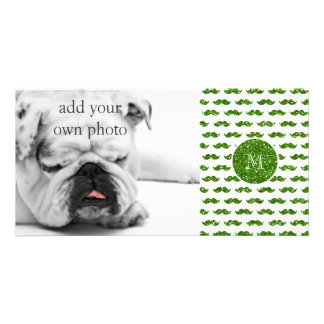Green Glitter Mustache Pattern Your Monogram Picture Card