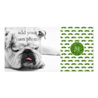Green Glitter Mustache Pattern Your Monogram Photo Greeting Card