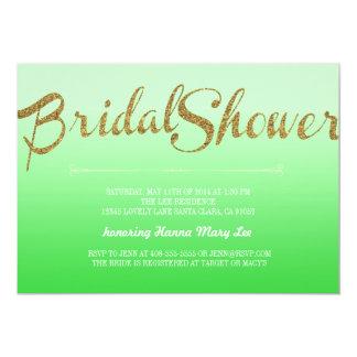 Green Glitter Ombre Bridal Shower Invitation