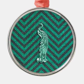 Green Glitter Peacock Christmas Ornament