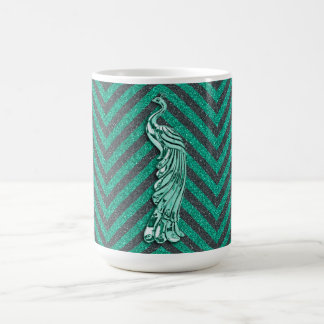Green Glitter Peacock Coffee Mug
