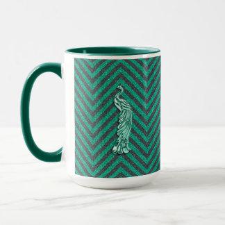 Green Glitter Peacock Mug