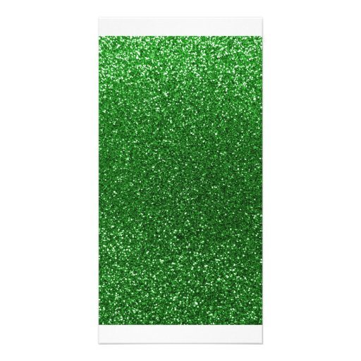 Green glitter photo greeting card