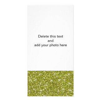 Green Glitter Printed Photo Card Template