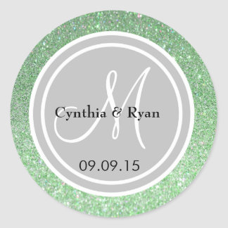 Green Glitter & Silver Wedding Monogram Seal Round Sticker