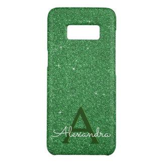 Green Glitter & Sparkle Monogram Irish Case-Mate Samsung Galaxy S8 Case
