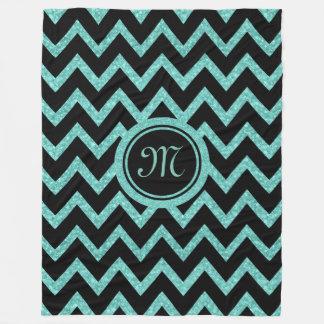 Green Glitter & Sparkles With Black Zigzag Pattern Fleece Blanket