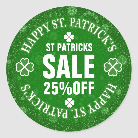 Green Glitter St Patrick's Custom Sale Sticker