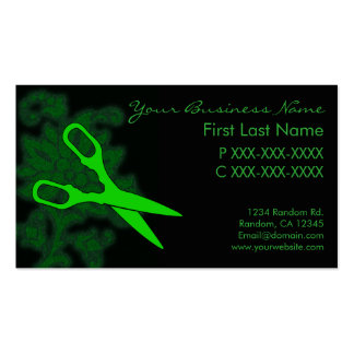 Green glitter swirl hair cut business cards