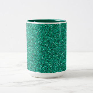 Green Glitter Two-Tone Coffee Mug