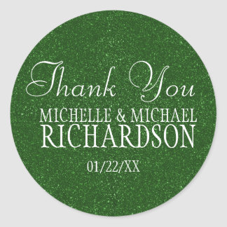 Green Glitter Wedding Favour Classic Round Sticker