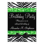 Green Glitter Zebra Bow Custom Girl Birthday Party Invitation