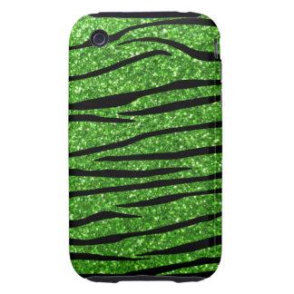 Green glitter zebra stripes tough iPhone 3 case