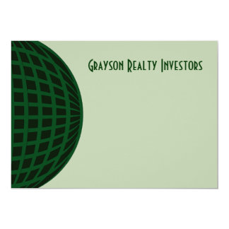 Green Global Business 5x7 Paper Invitation Card