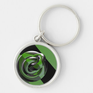 Green & glossy Silver-Colored round key ring